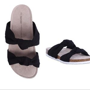 Report Black Babina Knotted Slides NWT